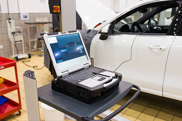 An image of a car being tested with some equipment